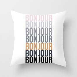 Bonjour in Bold Typography and Fall Colors Throw Pillow