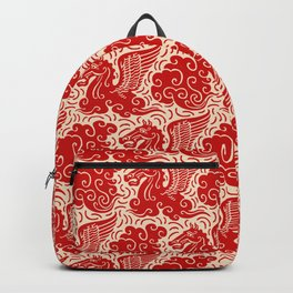 Pegasus Pattern Beige and Red Backpack
