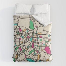 Colorful City Maps: Taipei, Taiwan Comforters