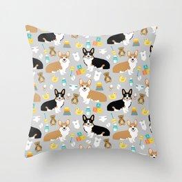 Corgi baby pillow corgi tri colored corgi red cute baby expecting print pattern design Throw Pillow