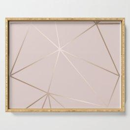 Rose Gold Geometric Pattern Serving Tray