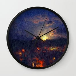 Full moon in the summer night sky Wall Clock