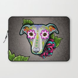 Greyhound - Whippet - Day of the Dead Sugar Skull Dog Laptop Sleeve