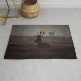 Silhouette Of A Highland Stag Rug