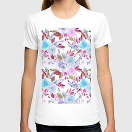 Modern pink lavender white watercolor floral T-shirt