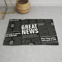 The Good Times Vol. 1, No. 1 REVERSED / Newspaper with only good news Rug