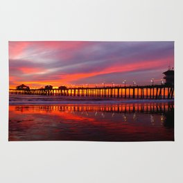 Sunset At The Pier * Huntington Beach, California Rug