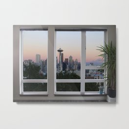 Seattle Skyline Window View Metal Print