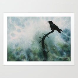 Canyon Denizen (Torrey Pine Remains with Raven) Art Print