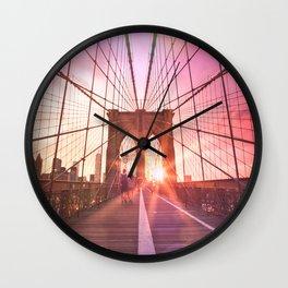 New York City Brooklyn Bridge Sunset Wall Clock