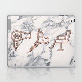 Rose Gold Blow Dryer on Marble Background - Salon Decor Laptop & iPad Skin
