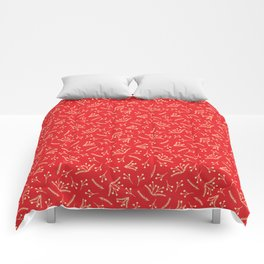 Christmas Branches and Berries in red and yellow Comforters