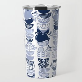 Swedish folk cats III // white background pale and navy blue kitties & bowls Travel Mug