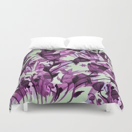 Painterly Graceful Flowing Flowers Duvet Cover