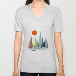Minimal landscape design with colorful mountains and a shark swimming at sunset Unisex V-Neck