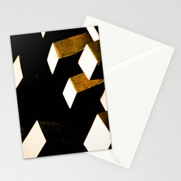 Rose Gold Bronze Abstract Geometric Mechanical Gears Stationery Cards