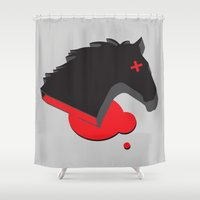 the godfather Shower Curtains featuring AHHHHHHH: The Godfather by drblind
