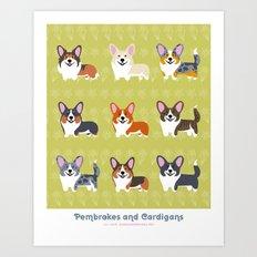 Pembrokes and Cardigans - CORGIS Art Print