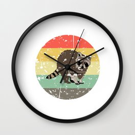 Retro Tee For Animal Lovers With A Cute Nice Illustration Of A Raccoon Forestry Animals Forester  Wall Clock