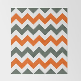 Chevron Pattern In Russet Orange Grey and White Throw Blanket
