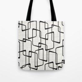 Black Retro Rounded Rectangles Geometric Pattern Tote Bag