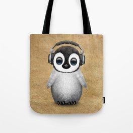 Cute Baby Penguin Dj Wearing Headphones Tote Bag