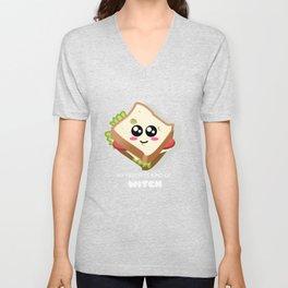 My Favorite Kind Of Witch Cute Sandwich Pun Unisex V-Neck