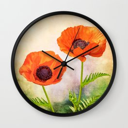 Two beautiful poppies with textures Wall Clock