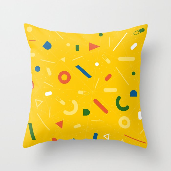 Almost Friday - pattern yellow Throw Pillow