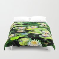 givenchy Duvet Covers featuring Eight Waterlilies by Michele Avanti