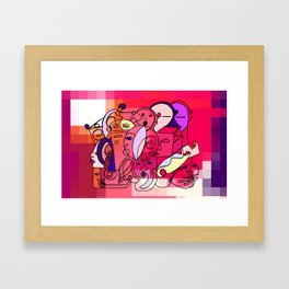 Red White Commotion Framed Art Print