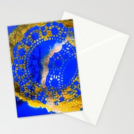 Royal Blue and Gold Abstract Lace Design Stationery Cards