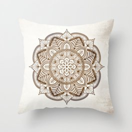 Mandala Brown Floral Pattern on Beige Background Throw Pillow