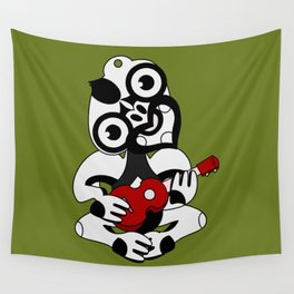 Black and Grey Hei Tiki playing a Ukulele Wall Tapestry