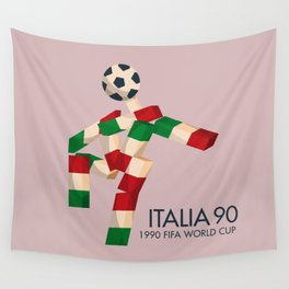 Vintage World Cup poster, Ciao, Italia 90 mascot, old football print Wall Tapestry