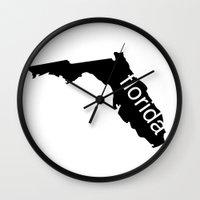 florida Wall Clocks featuring Florida by Isabel Moreno-Garcia