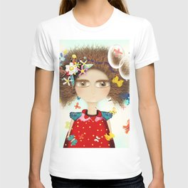 Doll Butterfly Balloons Afro Hair Flowers T-shirt