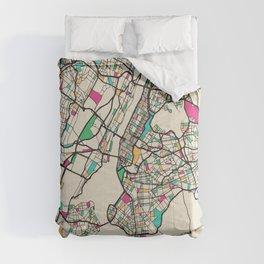 Colorful City Maps: New York City, USA Comforters