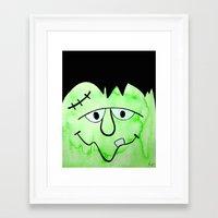 frankenstein Framed Art Prints featuring Frankenstein by HollyJonesEcu