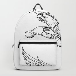 Eagle Clutching Hammer Drawing Backpack