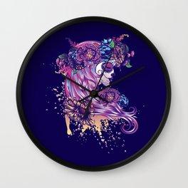 Purple sugar skull Wall Clock