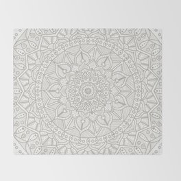 Gray Circle of Life Mandala on White Throw Blanket