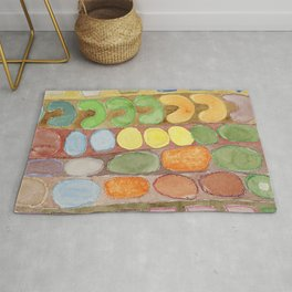 Striped Colorful Pattern with Croissants Rug