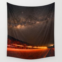 The Red Sky Road (Color) Wall Tapestry