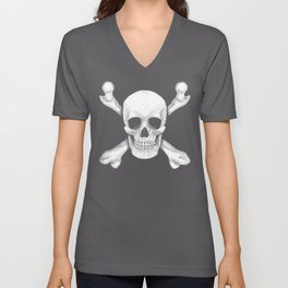 Jolly Roger - Deaths Head Pirate Skull Charge Unisex V-Neck