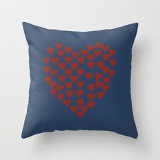 Hearts Heart Red on Navy Tex Throw Pillow