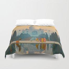 Morning Mist in Taj Mahal Vintage Beautiful Japanese Woodblock Print Hiroshi Yoshida Duvet Cover