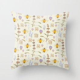 Weird Unusual Pattern On Beige Throw Pillow