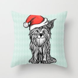 Christmas Dog In Santa Clause Hat Throw Pillow