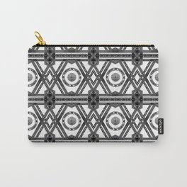 Geometric Black and White Tribal-Inspired Repeat Pattern Carry-All Pouch